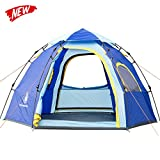 HUI LINGYANG Outdoor Instant Family Tent 5 Person Automatic Pop Up Tents Waterproof for Outdoor Sports Camping Hiking Travel Beach, Blue For Sale