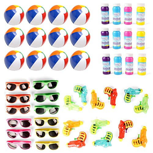 Ball Party Favors - Mega Pool Party and Beach Party Favors - Summer Fun Toy Mega Assortment Bulk Pack of 48 Kids Toys Includes - Kids Sunglasses Party Favors, Inflatable Beach Balls, Water Gun Squirts and Bubbles