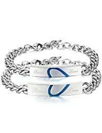 "JewelryWe Mens Women's Matching Blue Heart ""Real Love"" Stainless Steel Couple Promise Bangles Bracelets Christmas Cyber Monday Deal"