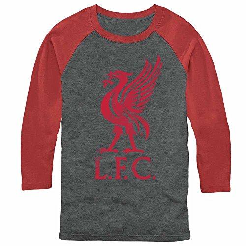 Liverpool Football Club Men's Bird Logo Arctic Gray/Rust Red Baseball Tee