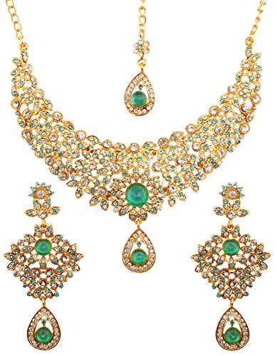 Western Jewelry Necklace Bracelet - Touchstone Hollywood Glamour White Faux Green Emerald Faux Blue Quartz Colorful Grand Designer Wedding Jewelry Hasli Necklace Set for Women in Antique Gold Tone.