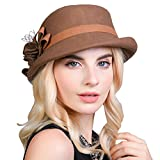 Maitose Women's Belt Flowers Wool Felt Bowler Hat Camel