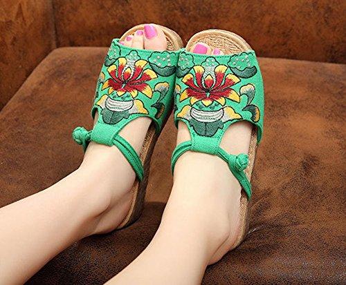 MISSMAO Ladies Ethnic Slingback Flat Open Toe Floral Print Sandals Beach Summer Sandals Shoes Green 7PBhj0d