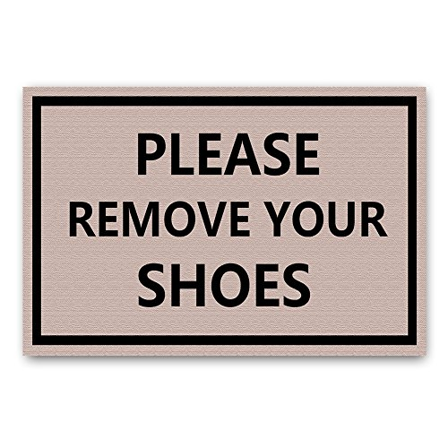Please remove your Shoes Funny Text Design Doormat By ZBLX-Entrance Mat Floor Mat Rug Indoor/Outdoor/Front Door/Bathroom Mats Rubber Non Slip (30