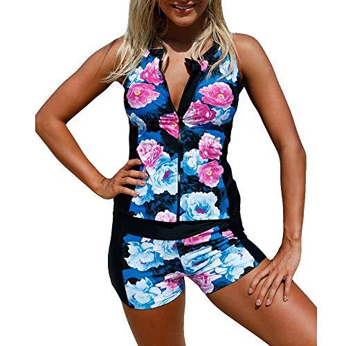 Superbaby Women Rash Tankini Vest Top Floral Zip Front Sporty 2pcs Bikini Swimsuit (L, A-Multicolour) ()