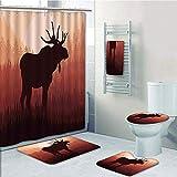 Bathroom Fashion 5 Piece Set shower curtain 3d print,Moose,Antlers in Wild Alaska Forest Rusty Abstract Landscape Design Deer Theme Woods Print,Red Brown,Bath Mat,Bathroom Carpet Rug,Non-Slip,Bath Tow