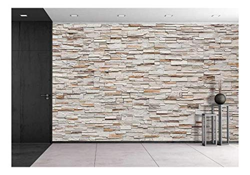 wall26 Pattern of Decorative Stone Wall Background - Removable Wall Mural | Self-Adhesive Large Wallpaper - 100x144 ()