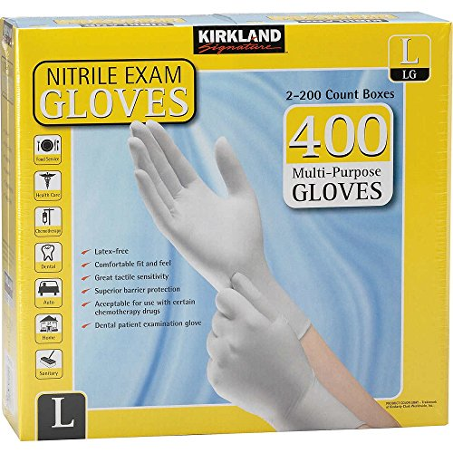 Kirkland Signature Nitrile Exam Gloves, Size Large 200-Count (2-Pack) (Barrier Free Barrier White)