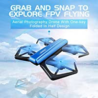 JJRC H43WH Foldable Drone, Leewa@ Quadcopter Drone with WiFi 720P HD Camera Altitude Hold, Gravity Sense Control, Headless Mode, APP Control FPV Drone with 2PCS Batteries -Blue