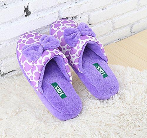 Polliwoo Zapatillas de algodón Fluff Invierno Interior Casa antideslizantes Calzado para mujer Green