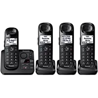 Panasonic KX-TGL433B / KX-TG3683B plus one KX-TGLA40B Dect 6.0 4-Handset Landline Telephone, Black (Certified Refurbished) (KX-TGL432B +2)
