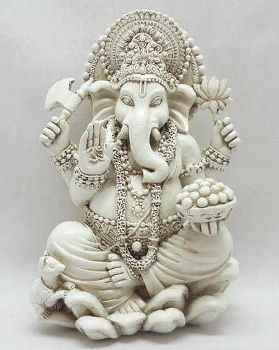 Bellaa 20957 Ganesh Statues Hindu Good Luck God White Statues