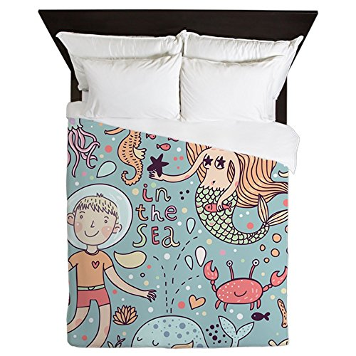 CafePress - Whimsical Sea Life - Queen Duvet Cover, Printed