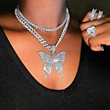 Earent Crystal Butterfly Choker Necklace Silver Cuban Link Chain Rhinestone Pendant Necklaces Chain Sparkly Butterfly Jewerly Party Accessories for Women and Girls (Color: Silver)