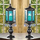 2 lot Blue Pedestal MOROCCAN BEADED Lanterns Candle Holder Wedding CENTERPIECES