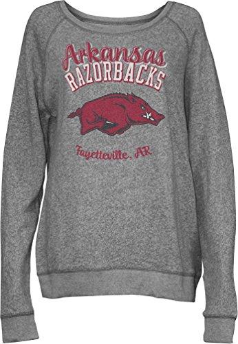 Three Square by Royce Apparel NCAA Arkansas Razorbacks Junior's Blythe Knobi Crew Fleece, Large, Heather Grey