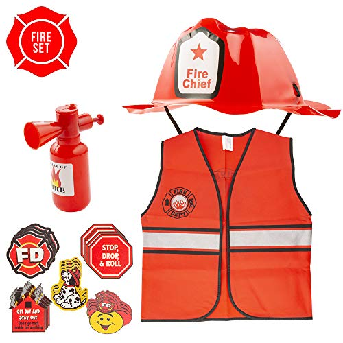 FAVONIR Kids Firefighter Dress Up Costume – Chief Hat – Vest - Extinguisher Water Cans Sprayer - FD Temporary Tattoos - for Birthday Parties and Pretend Play Novelty ()