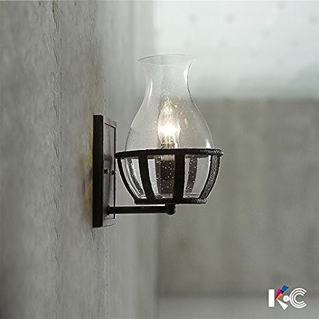 Ehime Las lámparas retro botellas de vidrio lámparas de pared de hierro industrial minimalista patio exterior