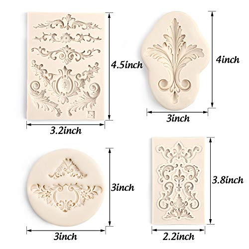 LoveInUSA 4 Pcs Baroque Silicone Fondant Molds,Filigree Mold 3D Sculpted Flower Cake Molds for Decorating Candy Polymer Clay Sugar Craft
