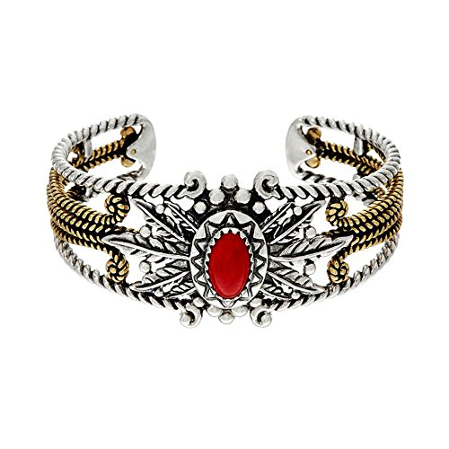 american-west-mixed-metal-red-coral-cuff-bracelet