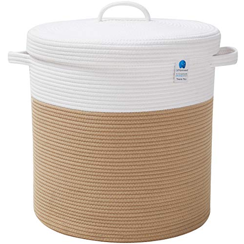 """16"""" x 16"""" x 18"""" Extra Large Storage Basket with Lid, Cotton Rope Storage Baskets, Laundry Hamper, Toy Bin, for Toys Towels Blankets Storage in Living Room Baby Nursery, Large Basket Beige with Cover"""