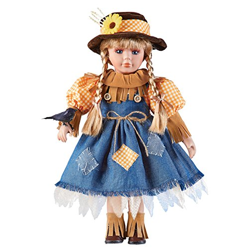 Women's Scarecrow Girl Collectable Porcelain Doll with Crow, Fall Home Décor