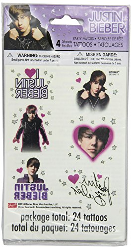 Justin Bieber Tattoo Sheets, 4ct ()
