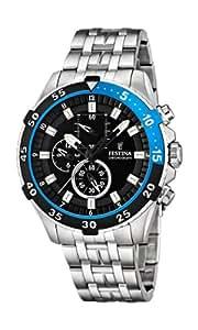 Festina F16603/3 - Reloj de pulsera con cronógrafo para hombre (mecanismo de cuarzo, esfera negra y correa de acero inoxidable plateado)