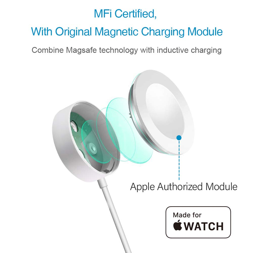 OPSO [ MFi Certified ] Apple Watch Charger, Magnetic Charging Cable Compatible with Apple Watch/iWatch 38mm 40mm 42mm 44mm - 3.3 Feet (1.0 Meter)