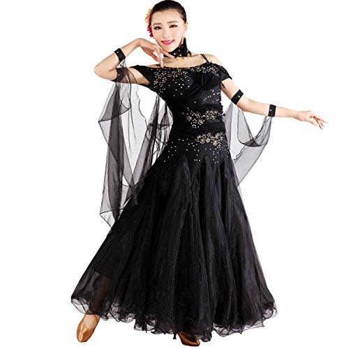 Black Dance Competition Costumes (YC WELL Ballroom Dance Competition Dresses 7colors Competition Dresses Modern Waltz Tango Smooth Ballroom Dance Costumes For Women Flamenco Dresses(Black,M))