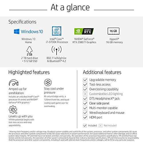 OMEN by HP Gaming Desktop Computer, Intel Core i7-9700K Processor, NVIDIA  GeForce RTX 2080 Ti 11 GB, HyperX 16 GB RAM, 2 TB hard drive, 512 GB SSD,