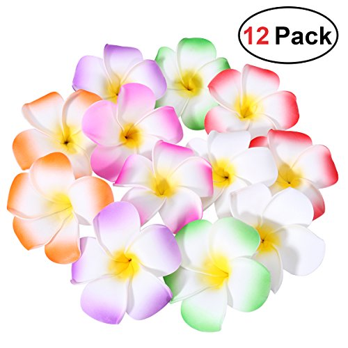 Frcolor 12 Pieces 3.5 Inch Hawaiian Plumeria Flower Hair Clip Foam Hair Accessory for Beach Party Wedding Event Decoration (White Purple Green Rose Red Red -