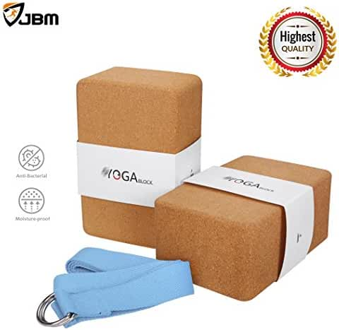 JBM Yoga Blocks 2 pack Plus Strap Cork Yoga Block Yoga Brick, Natural & Eco-friendly Cork Yoga Block to Support and Deepen Poses, Lightweight, Odor-Resistant and Moisture-Proof