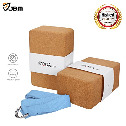 JBM international JBM Yoga Blocks 2 Pack Plus Strap Cork Yoga Block Yoga Brick, Natural & Eco-Friendly Cork Yoga Block to Support and Deepen Poses, Lightweight, Odor-Resistant and Moisture-Proof