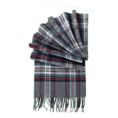 (Prince of Scots 100% Pure Merino Lambswool Tartan Scarf (Grey)