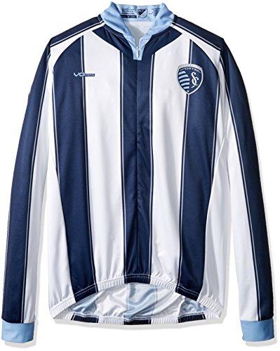 MLS Sporting Kansas City Men's Original Striped Long Sleeve Cycling Jersey, X-Large, White (Kansas Bike Jersey)
