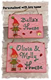 Pink Children's Playhouse Outdoor Sign Personalised with Any Name(s) Handmade & Hand-Painted Children's Kid's Gifts