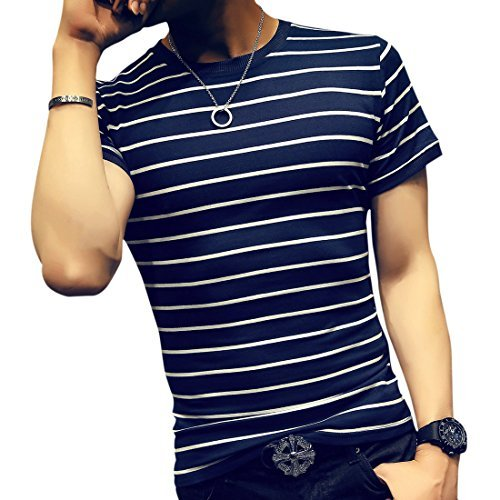 LOGEEYAR Mens Summer Short Sleeve Slim Fit Contrast Color Stitching Stripe Polo Casual T-Shirts (Large, 522-blue)