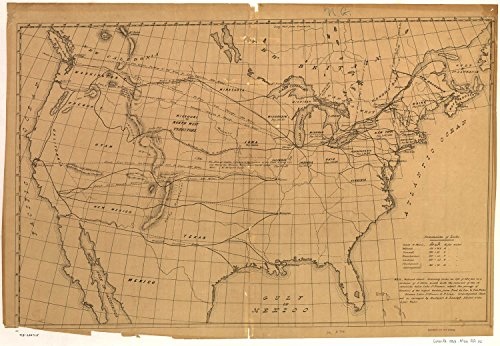 Map Poster - [Outline map of the United States showing proposed railroad routes to the Pacific]. 9