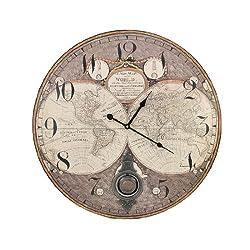 Old World Map 23 Inch Diameter Pendulum Wall Clock