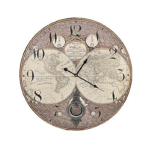 World globe clocks amazon old world map 23 inch diameter pendulum wall clock gumiabroncs Image collections