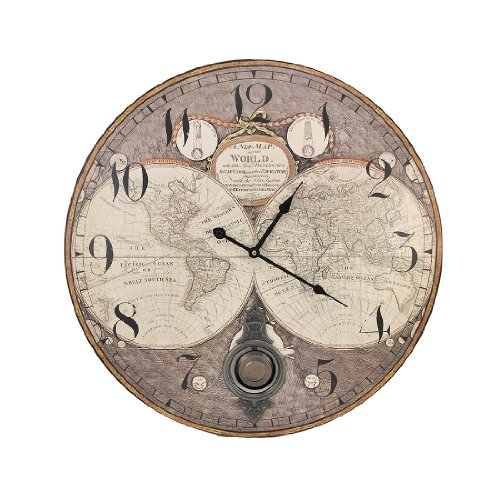 Things2Die4 Old World Map 23 Inch Diameter Pendulum Wall Clock (Clock Old World Map)
