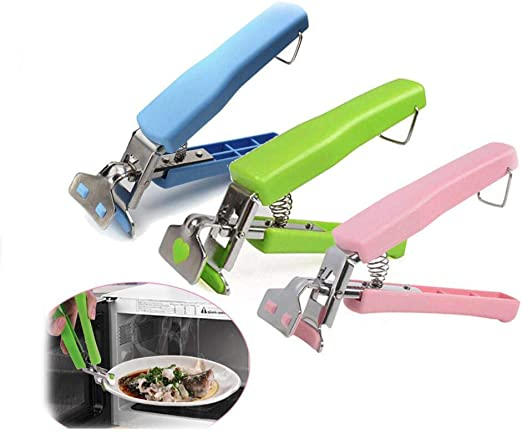 Bowl Pot Pan Gripper Clip Dish Plate Retriever Tongs 2 Pcs Stainless Steel/'