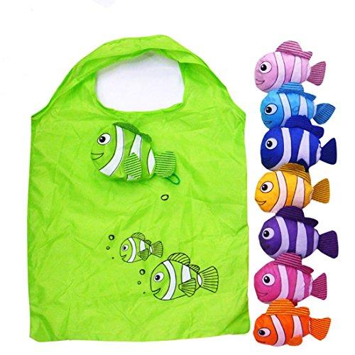 Anemonenfisch Faltbarer Einkaufs ÖKO Taschen Wiederverwendbare Farbe Random Packung mit 5