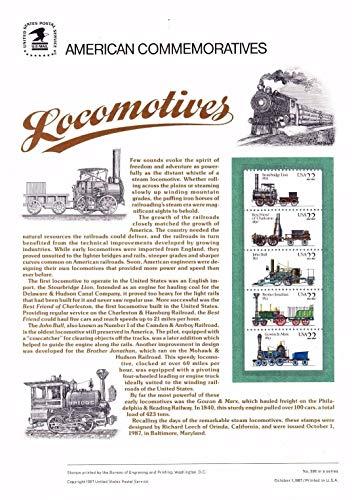 USPS 1987 Commemorative Panel Locomotives, Catalog No 2366a CP296 (Trains Locomotives Stamp)