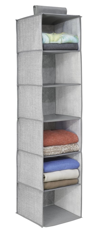 InterDesign Aldo Fabric Hanging Closet Storage Organizer, for Clothing, Sweaters, Shoes, Accessories - 6 Shelves, Gray
