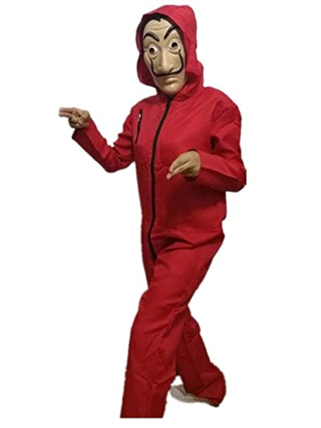 Amazon.com: LDamcom Unisex Dali Mask Red Costume for La Casa De Papel Coverall Jumpsuits: Clothing