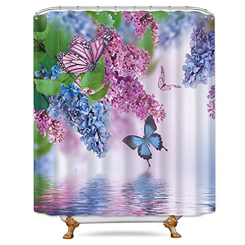Riyidecor Blue Lilac Butterfly Up Lake Shower Curtain Set 72x78 Inch Free Metal 12-Pack Hooks Pink Butterfly Purple Wild Flower Teen Girls Spring Decor Fabric Set Polyester - Shower Curtain Girls For Purple