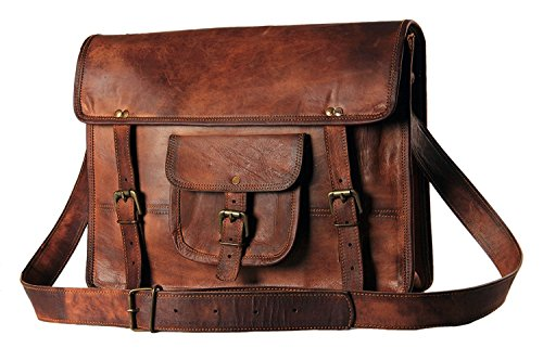 Men's Leather Messenger Bag - Rugged Vintage Laptop Messenger Bag for Men - Genuine Handcrafted Leather Messenger Satchel Shoulder Cross-body Bag for 15 Inch Laptop Macbook Computer (Vintage Leather Luggage)