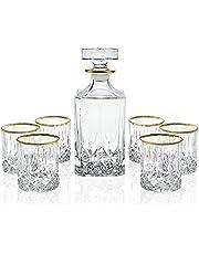 Elegant Manhattan Style Crystal Liquor Whiskey and Wine Decanter Set. Irish Cut 7 Piece Set 1 Decanter. 6 Old Fashioned 6 Oz DOF Glasses with 24k Gold Trim. by Le'raze
